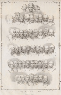 """Character Heads"" (1839) is a lithograph by Matthias Rudolph Toma (1792-1869) of Franz Xaver Messerschmidt's busts"