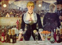 A Bar at the Folies-Bergère, painted and exhibited at the Paris Salon in 1882, was the last major work by French painter Édouard Manet before he died. It depicts a scene in the Folies Bergère nightclub in Paris, depicting a bar-girl, one of the demimondaine, standing before a mirror.