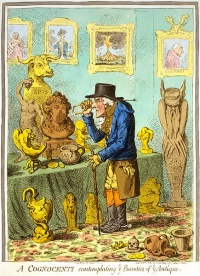 A Cognocenti contemplating ye Beauties of ye Antique (1801) by James Gillray