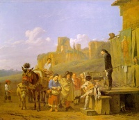 A Party of Charlatans in an Italian Landscape (1657) by Karel Dujardin