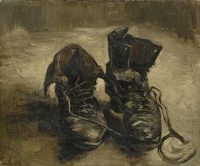 A pair of shoes by Vincent van Gogh, Paris, 1886. Martin Heidegger mentions this particular work in The Origin of the Work of Art as an example of a painting that reveals (aletheia) a whole world.