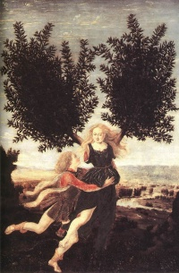 Apollo and Daphne by Antonio Pollaiuolo, one tale of transformation in Ovid's Metamorphoses—he lusts after her and she escapes him by turning into a bay laurel.
