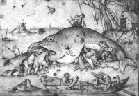 Big Fish Eat Little Fish, a drawing by Pieter Bruegel the Elder