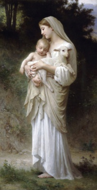 Innocence (1893) by William-Adolphe Bouguereau: Both young children and lambs are symbols of innocence