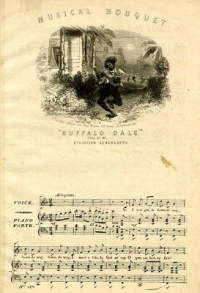 "This page Popular culture is part of the music series.Illustration: Sheet music to ""Buffalo Gals"" (c. 1840), a traditional song.Maxim: ""writing about music is like dancing about architecture""."