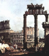 Capriccio with the Colosseum (1743-44) - Bernardo Bellotto