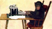 Given enough time, a chimpanzee punching at random on a typewriter would almost surely type out all of Shakespeare's plays.  Photo: Chimpanzee Typing (1907) - New York Zoological Society