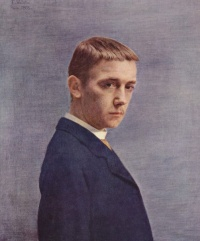 Self-Portrait at the Age of Twenty (1885) by Félix Vallotton  See anthropomorphism, earth, people, human nature, human condition, Volksgeist