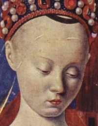 Virgin and Child Surrounded by Angels (detail, c. 1450) Jean Fouquet