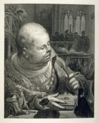 Gargantua and Pantagruel by François Rabelais, illustrated by Gustave Doré in 1873, a caricature of an obese man