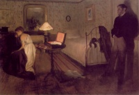Interior (1868 - 1869) by Edgar Degas. The source of this painting is variably attributed to Émile Zola and Paul Gavarni
