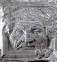 Grotesque mask for  La Porte de Parsifal. (c. 1891) by French sculptor Jean-Joseph Carriès