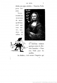 Mona Lisa Smoking a Pipe by Eugène Bataille, page from Le Rire by Coquelin cadet