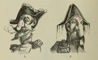 This page Napoleon III is part of the rulers series.  Illustration: Napoleon III nose caricatures from Schneegans's History of Grotesque Satire