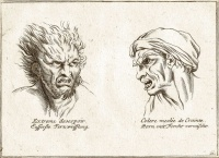 Designs by French artist Charles Le Brun, from Méthode pour apprendre à dessiner les passions (1698), a book about the physiognomy of the 'passions'.