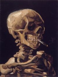 Skull of a Skeleton with Burning Cigarette (1886) - Vincent van Gogh