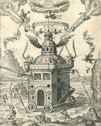 This page Foucault's Pendulum is part of the mysticism series. Illustration: The Temple of the Rose Cross from the Speculum Sophicum Rhodostauroticum (1618) by Teophilus Schweighardt Constantiens