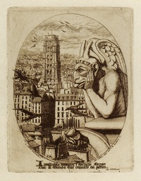 Stryge (1853) is a print by French etcher Charles Méryon depicting one of the chimera of the Galerie des chimères of the Notre Dame de Paris cathedral.