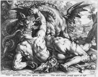 The Dragon Slaying the Companions of Cadmus 1588 by Hendrik Goltzius, after a painting of Cornelis van Haarlem