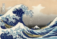 The Great Wave off Kanagawa (1820s), woodblock printing by Hokusai