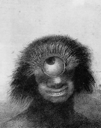 "The Misshapen Polyp Floated on the Shores, a Sort of Smiling and Hideous Cyclops (1883) by Odilon Redon  ""What is beauty, and if it is in the eye of the beholder, then what is it that is being said to be in the eye of the beholder?"""