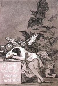 The Sleep of Reason Produces Monsters is a print by Francisco Goya from the Caprichos series