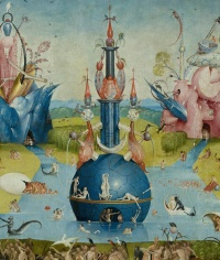 The central water-bound globe in the middle pane from Hieronymus Bosch's The Garden of Earthly Delights (c. 1490-1510)