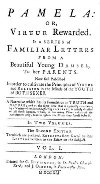 Title page from Pamela, or Virtue Rewarded (1740) - Samuel Richardson