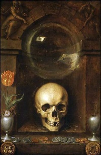 Vanitas stands for transience, ephemerality, impermanence, the reverse of eternity Illustrationl: Vanitas (1603) by Jaques de Gheyn II