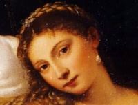 Venus of Urbino (1538, detail) by Titian. The frankness of Venus' expression is often noted; she makes direct eye contact with the viewer, unconcerned with her nudity.