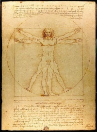 Vitruvian Man by Leonardo da Vinci, see man is the measure of all things