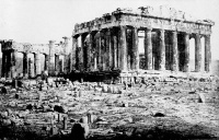 This page Culture is part of the humanity series.1872 photograph of the western face of the Greek Parthenon